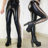 Mädchen Punk Club Lines Schnürung Side High Slit Kunstleder Nieten Leggings