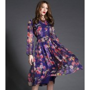 Neue Noble-Eule Drucken Langes Kleid