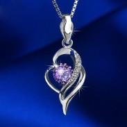 Edle hohle Diamant in Herzform Anhänger 925 Silber Halskette