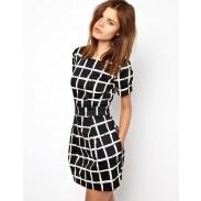 Gitter Frische Kurzarm dünnes Kleid