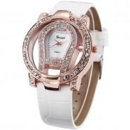 Mode große Zifferblatt Rhinestone trim hohlen Uhr