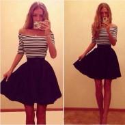 Mode Gestreiftes trägerloses dünnes Kleid