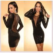 Reizvolle verstärktes Perspektive Rückenfreies Mít Pailletten Kleid