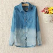 Mode Blaue Steigung Denim-Hemd
