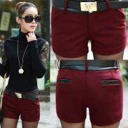 Elegant Leder Stitching Woolen Shorts