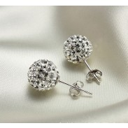 Neu Kristall Kugelrhinestone Silber Ohrringe & Ohr