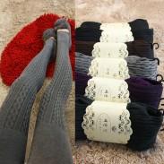 Mode Vertikal Stripes Twist Wolle Gamaschen