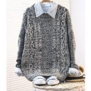 Vintage cremefarbener Rough Twist Sleeve-Pullover
