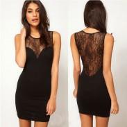 Reizvolle Punktperspektive Spitze Stitching Schlank Neckholder Kleid und Partei-Kleid