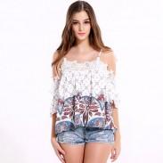 Frauen-Mädchen-trägerlose lange Hülsen-dünne Bluse lose Spitze-Oberseiten