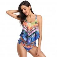 Sexy hohe Taille Sling Frauen Sommer Bikinis unregelmäßiges Muster verlässt Badeanzug