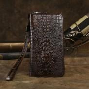 Retro 3D Krokodil Brieftasche lange große Krokodil Haut Muster handgemachte Business Geldbörse Telefon Unterarmtasche