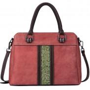Retro Kontrastfarbe Vertikales Muster Schnitzen Original Handmade Handtasche Große Rindsleder Umhängetasche