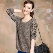 Mode-hohle Spitze-Blumen-Dekolleté-Pullover-Strick pullover