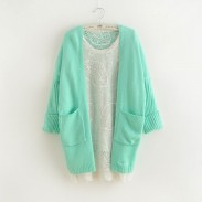 Neue Art und Weise Mint Green Bat Sleeve Korean lose Strickjacke Pullover