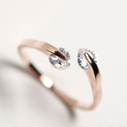 Mode Pfirsich-Herzrhinestone-Öffnungs-Ring