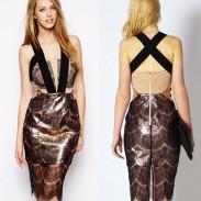 Retro dünne Spitze Ärmelloses Schwarzes Kleid