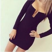 Tiefer V reizvoller schwarze Kleider
