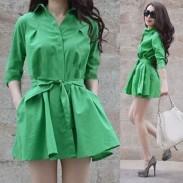 Elegante reine Farben-Bogen-Gurt-Kleid