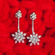 Fashion-Schneeflocke-Silber-Ohrhänger