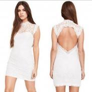 Figurbetonten Pflaume Muster Rückenfreies Spitze-Kleid