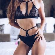 Sexy BH Set Mesh Schwarz Hohe Taille Schlinge Spitzenverband Frauen Dessous