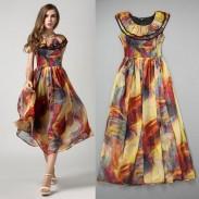 Arbeiten Sie bunten Damen lagertes-Rundhalsausschnitt-Chiffon- Kleid