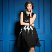 Pflaumenblüte Bestickt Organza Gefälschte zweiteilige Kleid