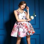 Sommer Bunte Blumenmuster-Weste-Rock-Kleid