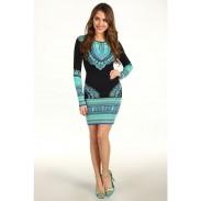 Langarm Mode Totem-Drucken-Kleid