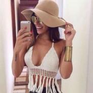 Sexy Handgemachtes Quaste BH Weiß Gestrickt Bikini Bademode Beachwear