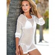 Frau Bikini Kleid Gestrickt Hemd Sonnenschutz Bekleidung Blusen Bademode
