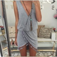 Reizvoller Unregelmäßige Quasten Rand mit V-Ausschnitt ärmelloses Kleid