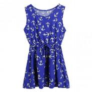 Mode-Rundhalsausschnitt-Marine-Anker-Kleid