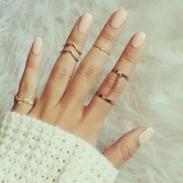 Fashion Blätter Diamant-One Set Six-Ring-Kette Unregelmäßige Fingergelenke Ring