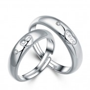 Romantischer Liebhaber-Silber-Ring-Zircon-justierbare Größen-Paar-offener Ring