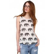 Elephant Printing Unregelmäßiges Rundhalsausschnitt Ärmelloses Weste T-Shirt