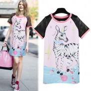 Mode reizende nette Zebra-Muster-Net Hülse Mischfarbe Lange T-Shirt