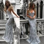 Sexy tiefem V-Ausschnitt Trägern Pailletten Party Kleid elegante lange Sling Prom Kleid