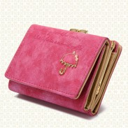 Netter bereifter kleiner Regenschirm kurz Damen Brieftasche Geldbörse