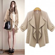 Neue Herbst- Mode Revers Welliges-Kragen Solide Gerollt Ärmeln beiläufige Mantel