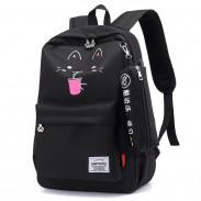 Neue Cartoon Katze New York Bär Druck USB wasserdicht große Studententasche Schulrucksack