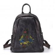 Retro Libelle Zweige Blumen handgemachte Original Leder Reiserucksack
