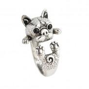 Schöner Hund 925 Silber Ring Bulldog Tier Ring