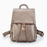Dame Doppelt Reißverschluss Taste Rucksack solide Farbe Reisetasche