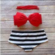 Boknow schwarz-weiß gestreiften hohe Taillen-Strand-Badebekleidung