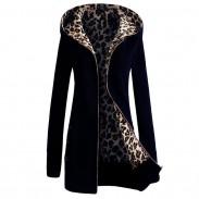 Freizeit-Leopard-Sweatshirt-Frauen mit Kapuze verdicken Strickjacke-Mantel