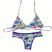 Sexy String Kleine Chrysantheme Bikini Badeanzug Bademode Badeanzug
