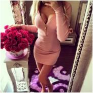 Fashion Zip Front Schlank Langarm Bodycon Kleid