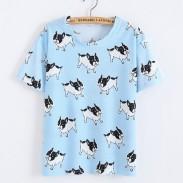 Süß Shar Pei Tiere Gedruckt Karikatur Blau Frau T-Shirt